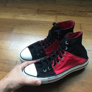 Red and Black Converse Chuck Taylors high Tops
